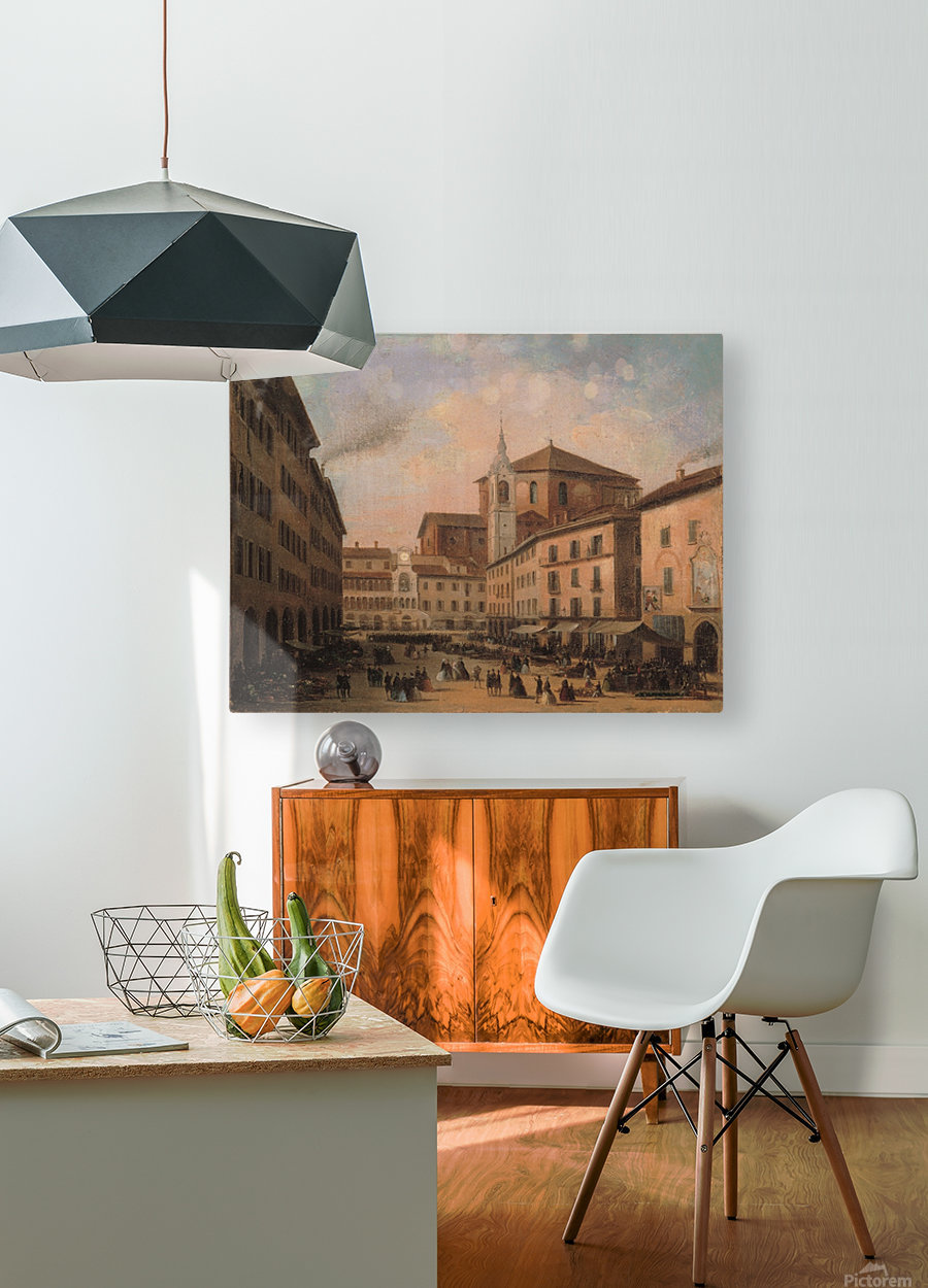 Piazza della Vittoria a Pavia olio su tela  HD Metal print with Floating Frame on Back