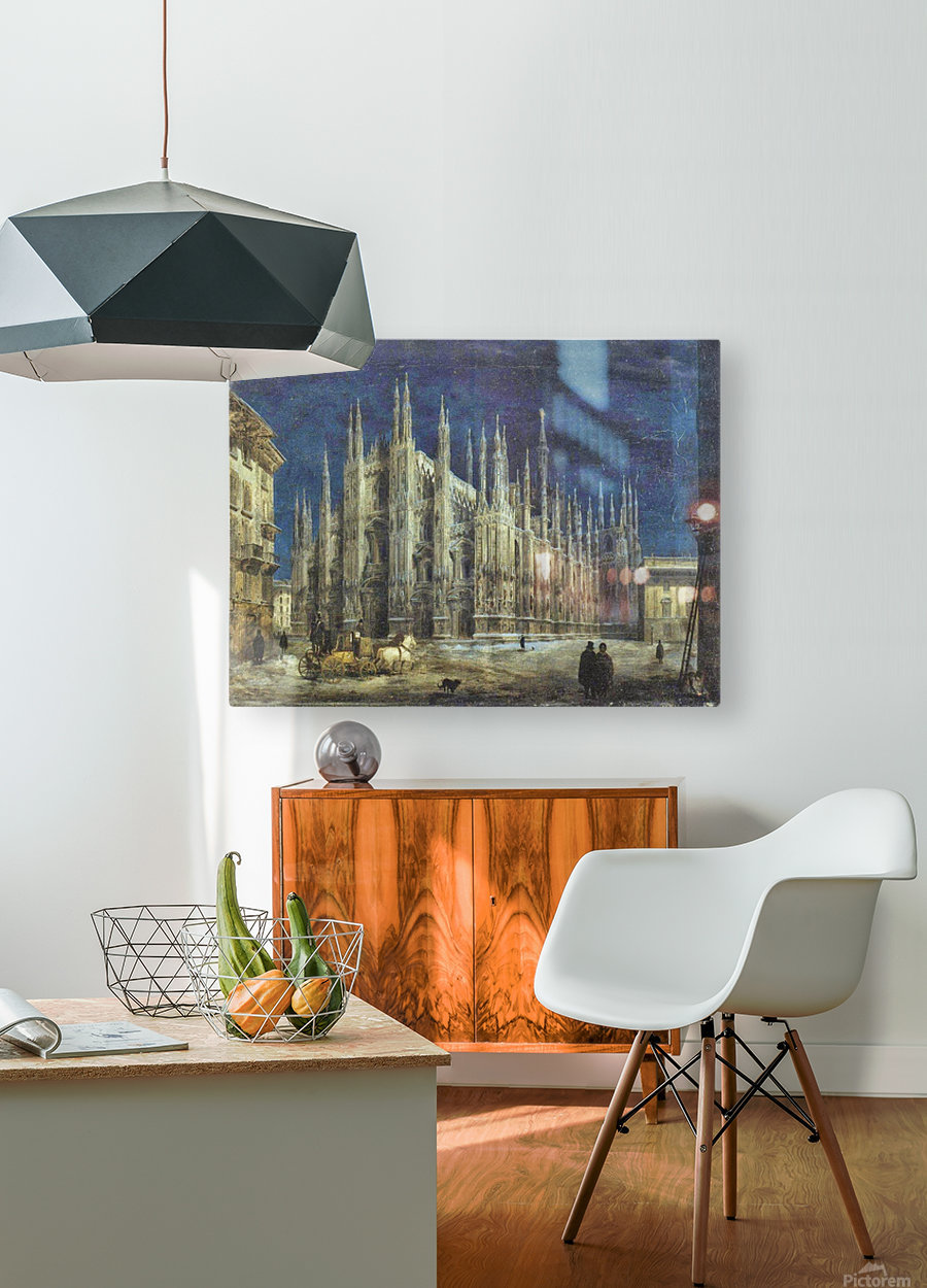 Night view of Piazza del Duomo in Milan  HD Metal print with Floating Frame on Back