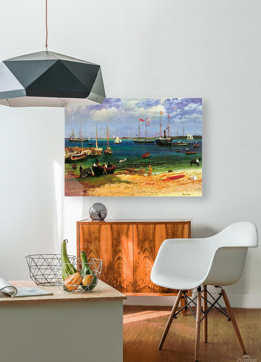 Nassau port by Bierstadt  HD Metal print with Floating Frame on Back