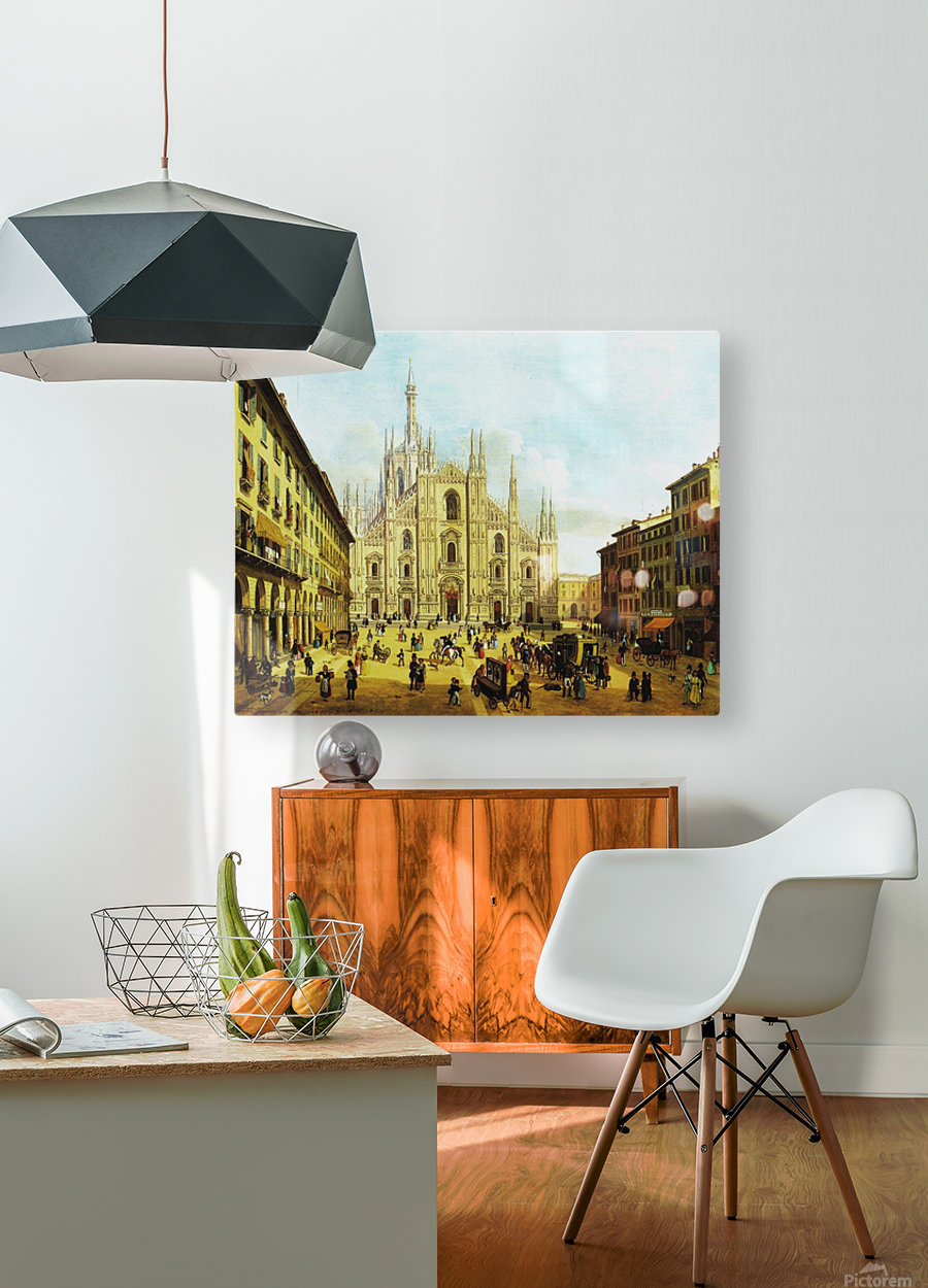 Piazza del Duomo di Milano, 1832  HD Metal print with Floating Frame on Back