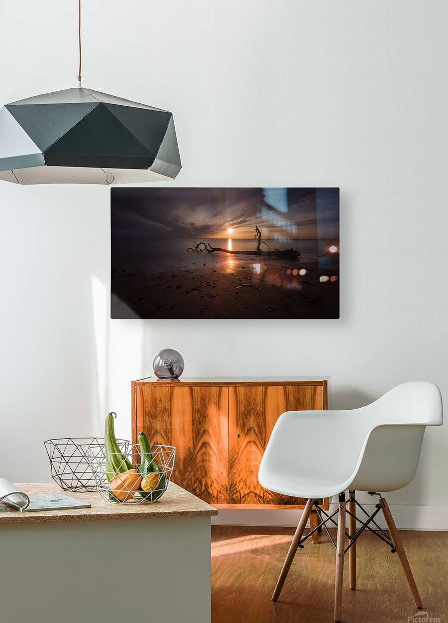 Sunset on Sker Beach  HD Metal print with Floating Frame on Back
