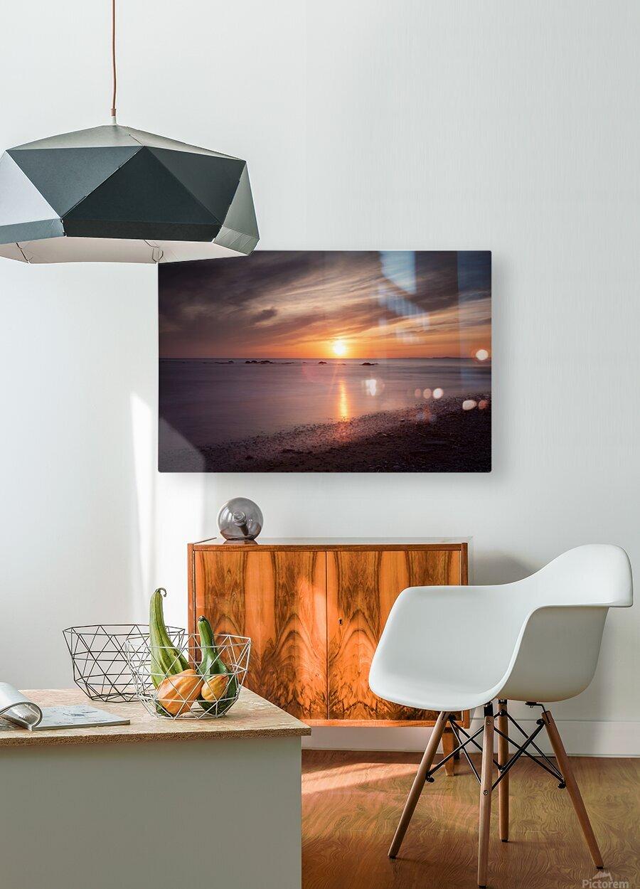 Sker Beach sunset  HD Metal print with Floating Frame on Back