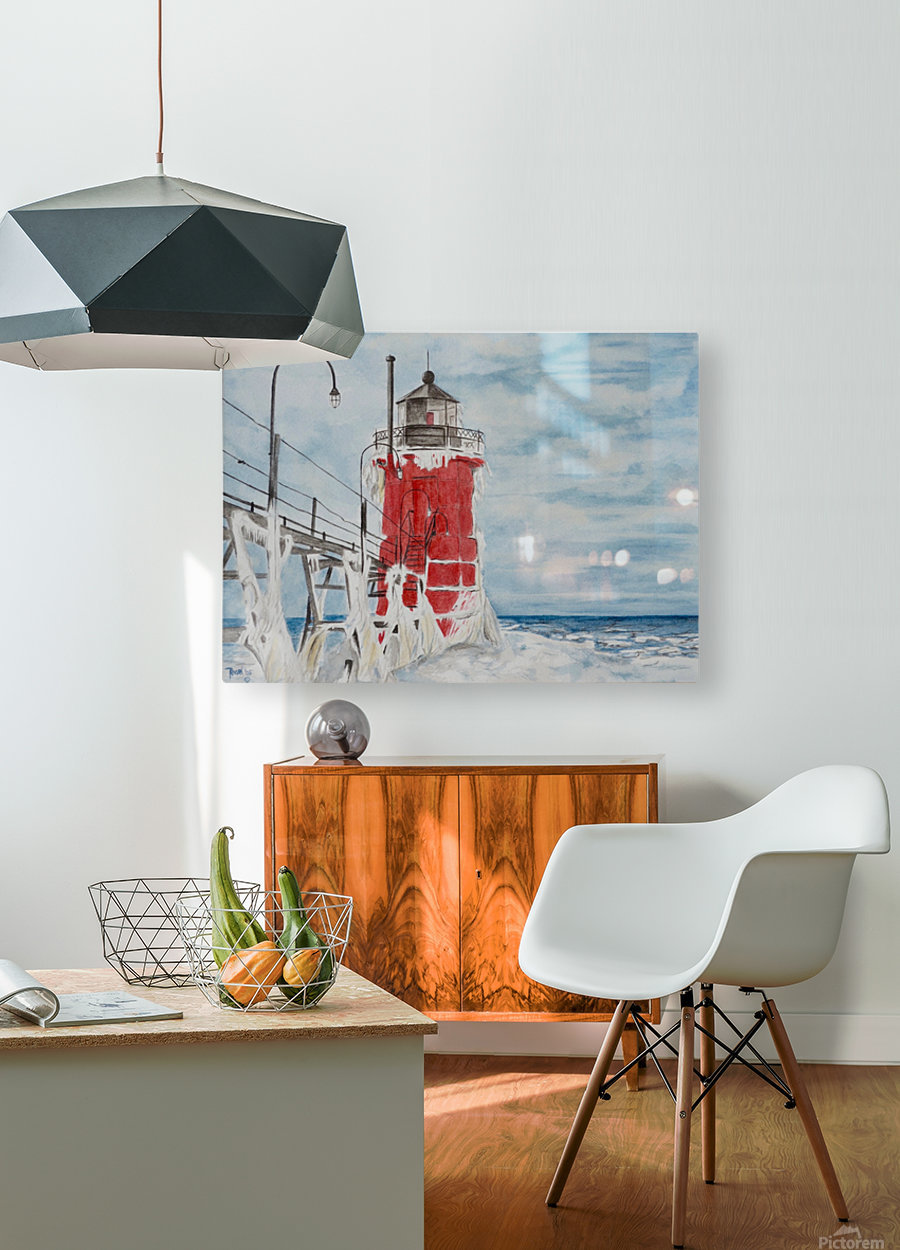 South Haven Lighthouse Michigan   HD Metal print with Floating Frame on Back