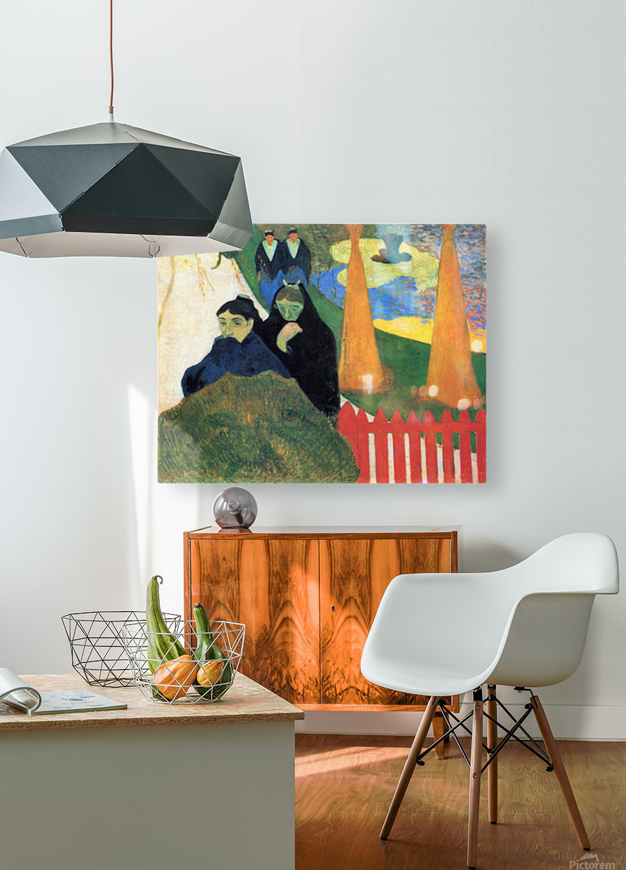 Old Maids in a Winter Garden - Arles by Gauguin  HD Metal print with Floating Frame on Back