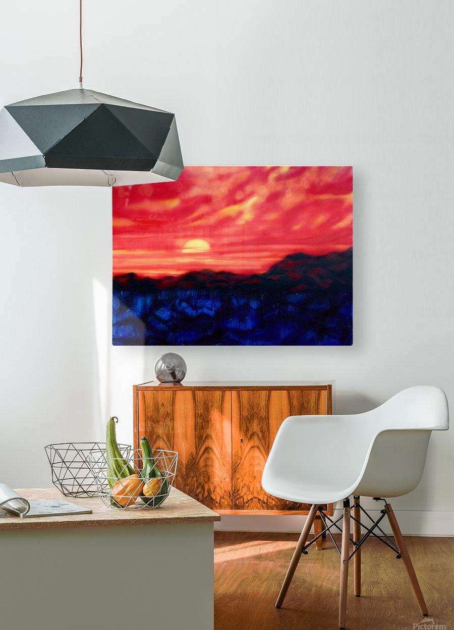 Fire Sunset  Impression métal HD avec cadre flottant sur le dos
