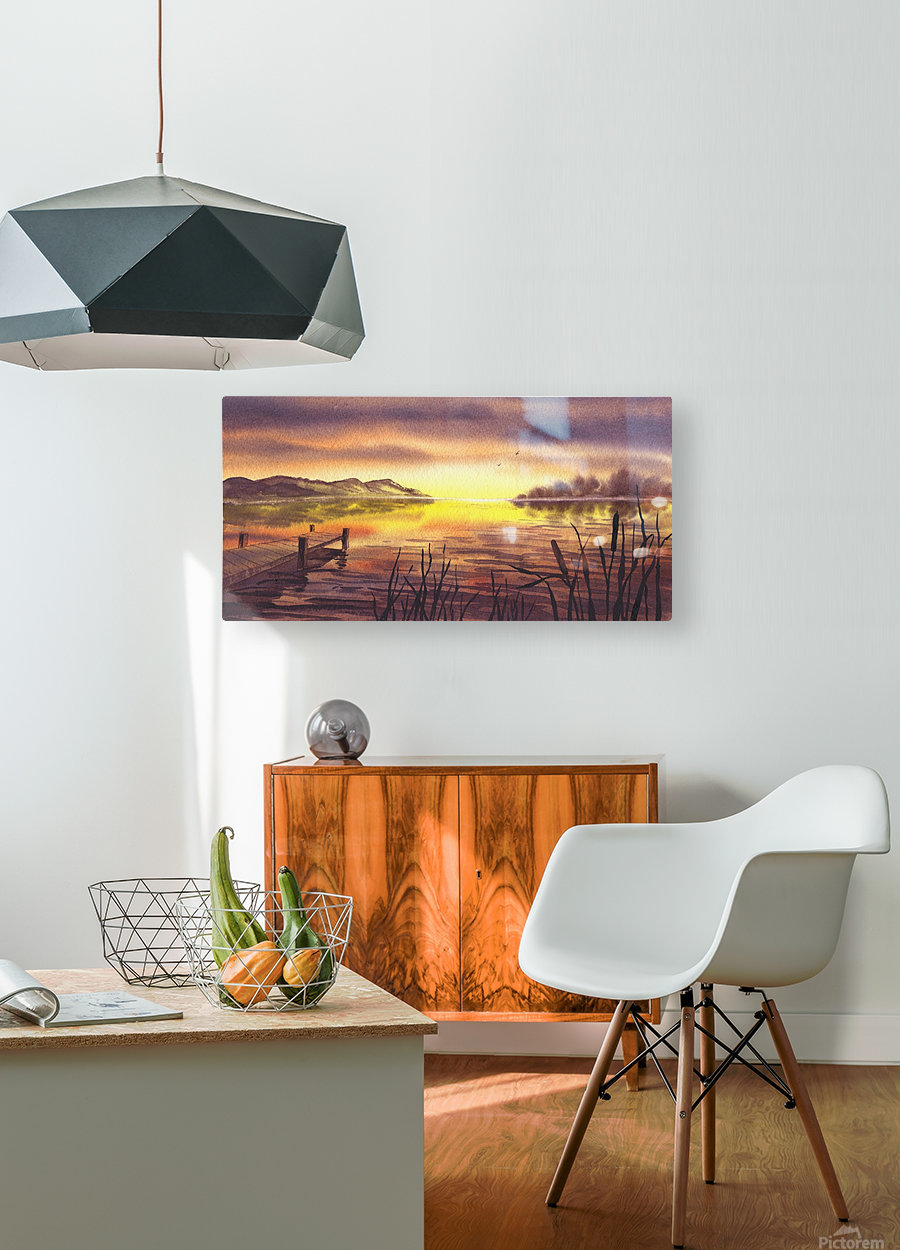 Peaceful Sunset At The Lake  HD Metal print with Floating Frame on Back