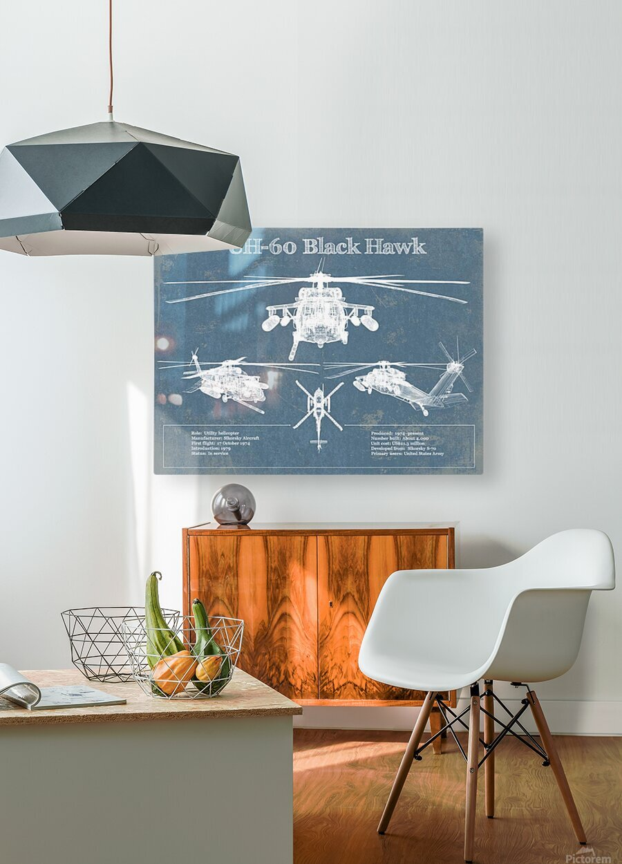 blackhawk  HD Metal print with Floating Frame on Back