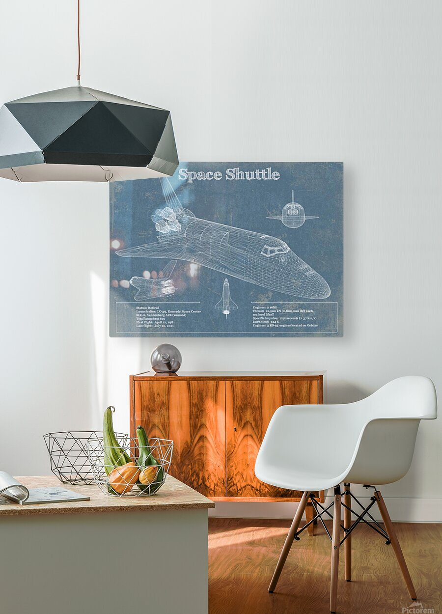 spaceshuttle  HD Metal print with Floating Frame on Back