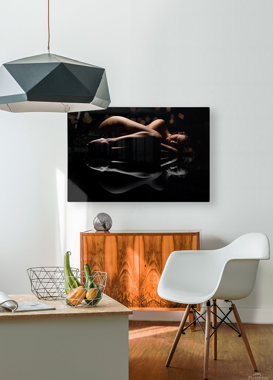 nude_woman_fine_art_laying_down_naked  HD Metal print with Floating Frame on Back