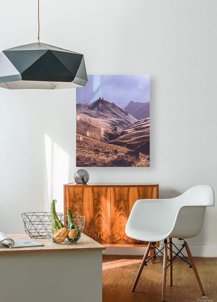 Gergeti in moring sunlight.  HD Metal print with Floating Frame on Back