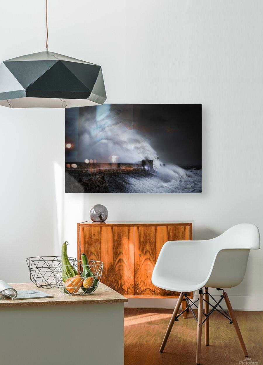 Hurricane Ophelia at Porthcawl  HD Metal print with Floating Frame on Back