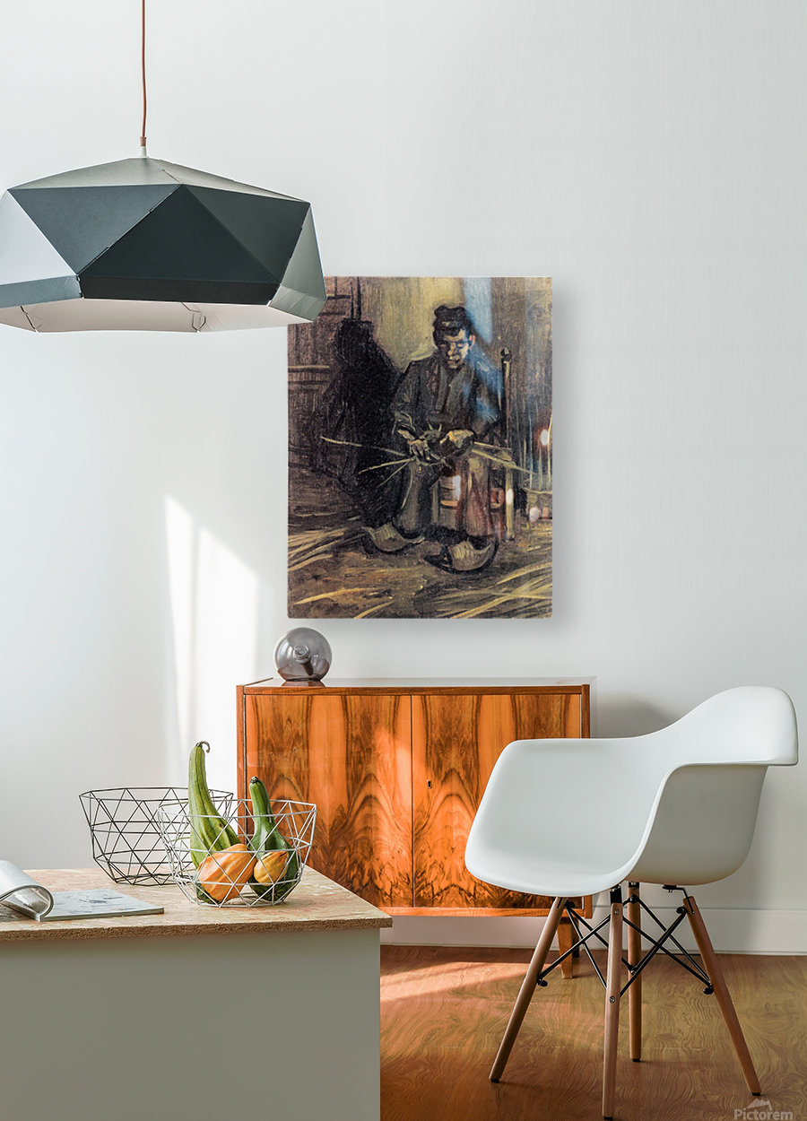 Peasant Making a Basket by Van Gogh  HD Metal print with Floating Frame on Back
