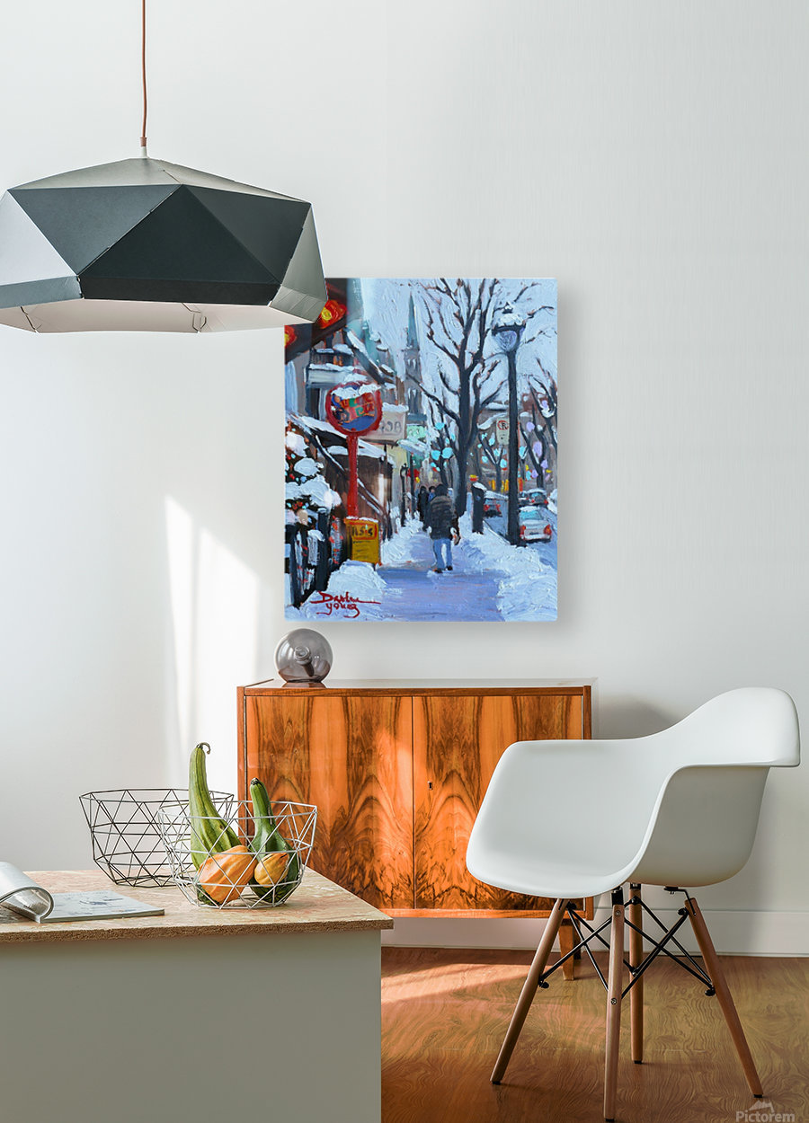 Montreal Winter St-Denis  HD Metal print with Floating Frame on Back