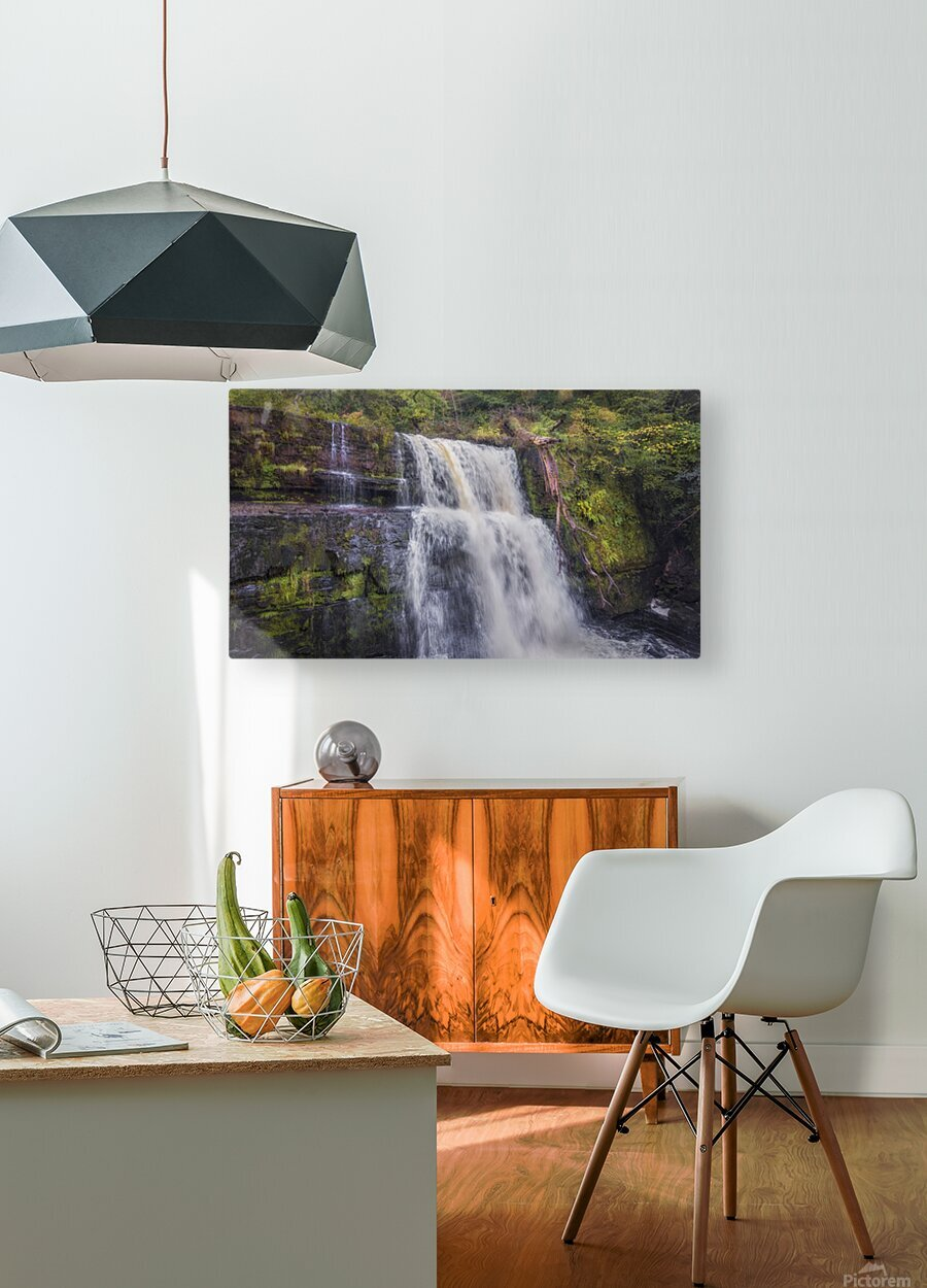 The waterfall Sgwd Clun Gwyn   HD Metal print with Floating Frame on Back
