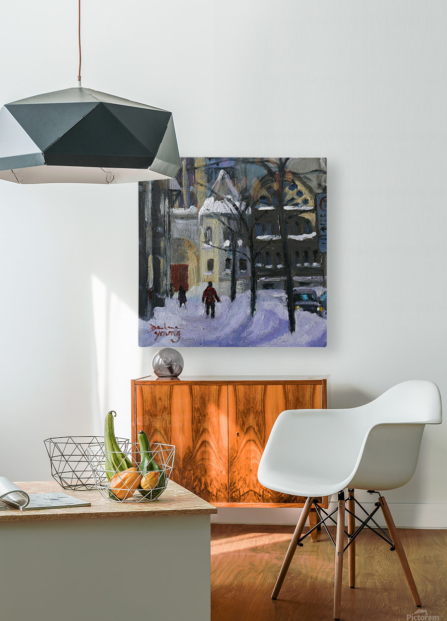 Montreal Downtown Scene, Drummond Winter  HD Metal print with Floating Frame on Back