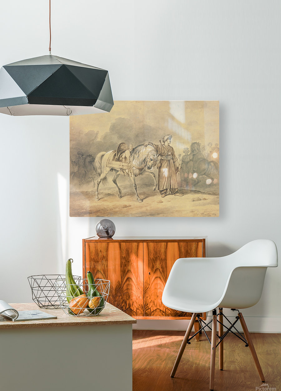 A Mameluk leading his horse  HD Metal print with Floating Frame on Back