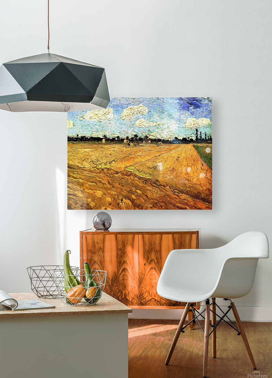 Ploughed Field by Van Gogh  HD Metal print with Floating Frame on Back