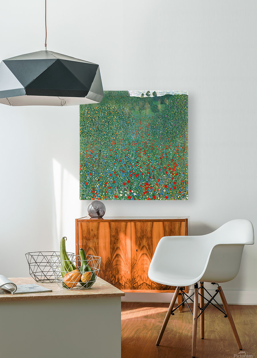 Poppy Field by Klimt  HD Metal print with Floating Frame on Back