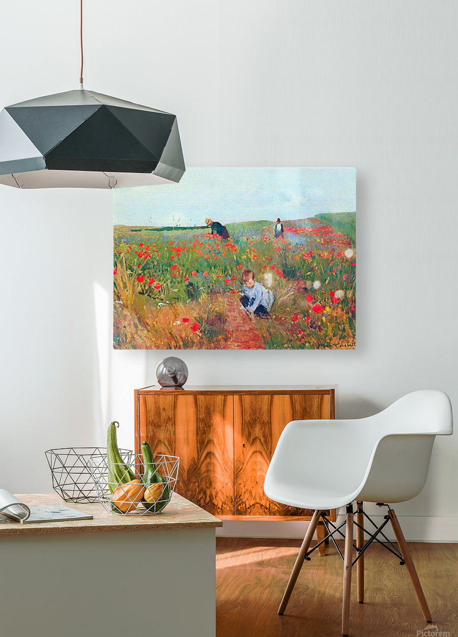 Poppy in the field by Cassatt  HD Metal print with Floating Frame on Back