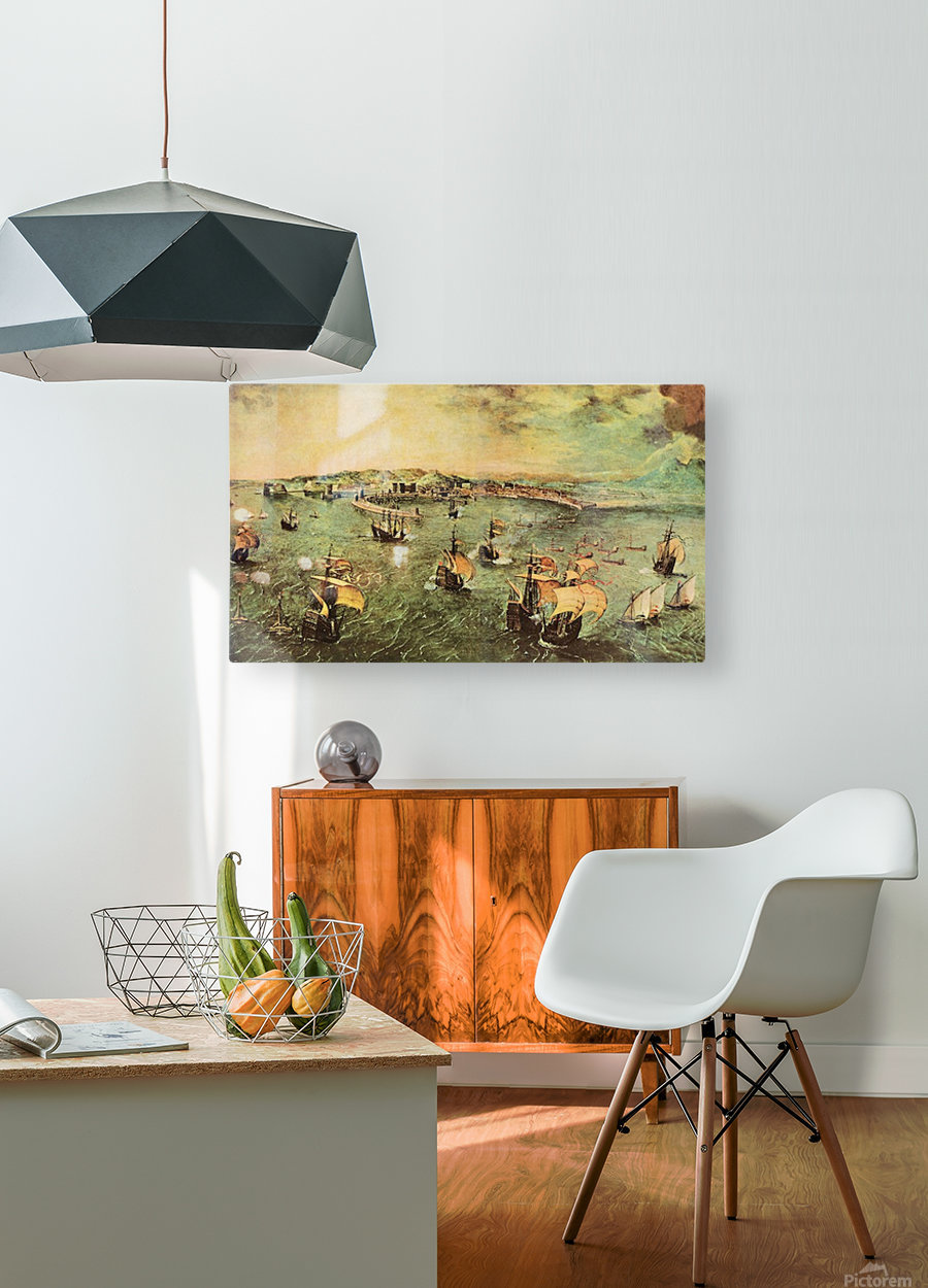 Port of Naples by Pieter Bruegel  HD Metal print with Floating Frame on Back