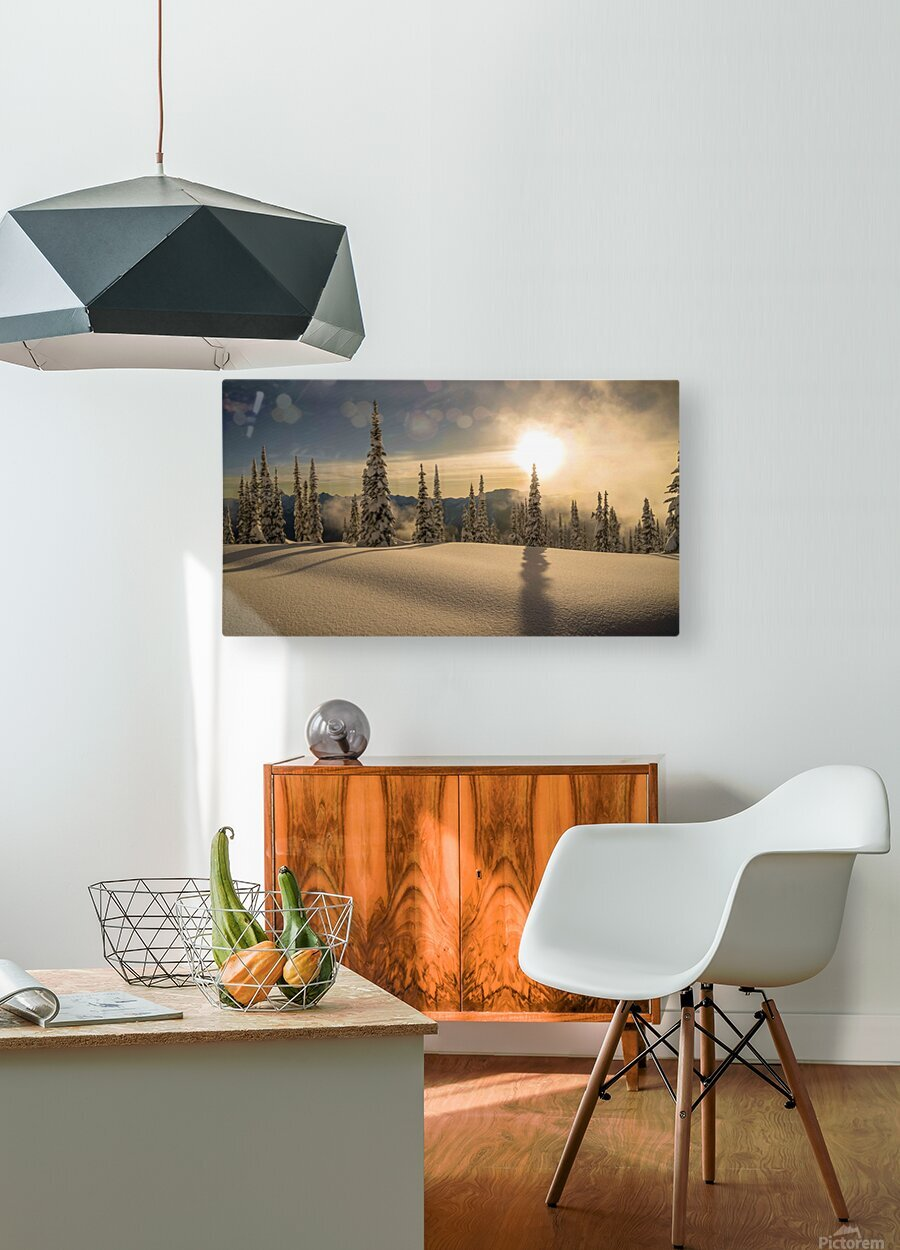 Trout lake BC Alpine sunset  HD Metal print with Floating Frame on Back