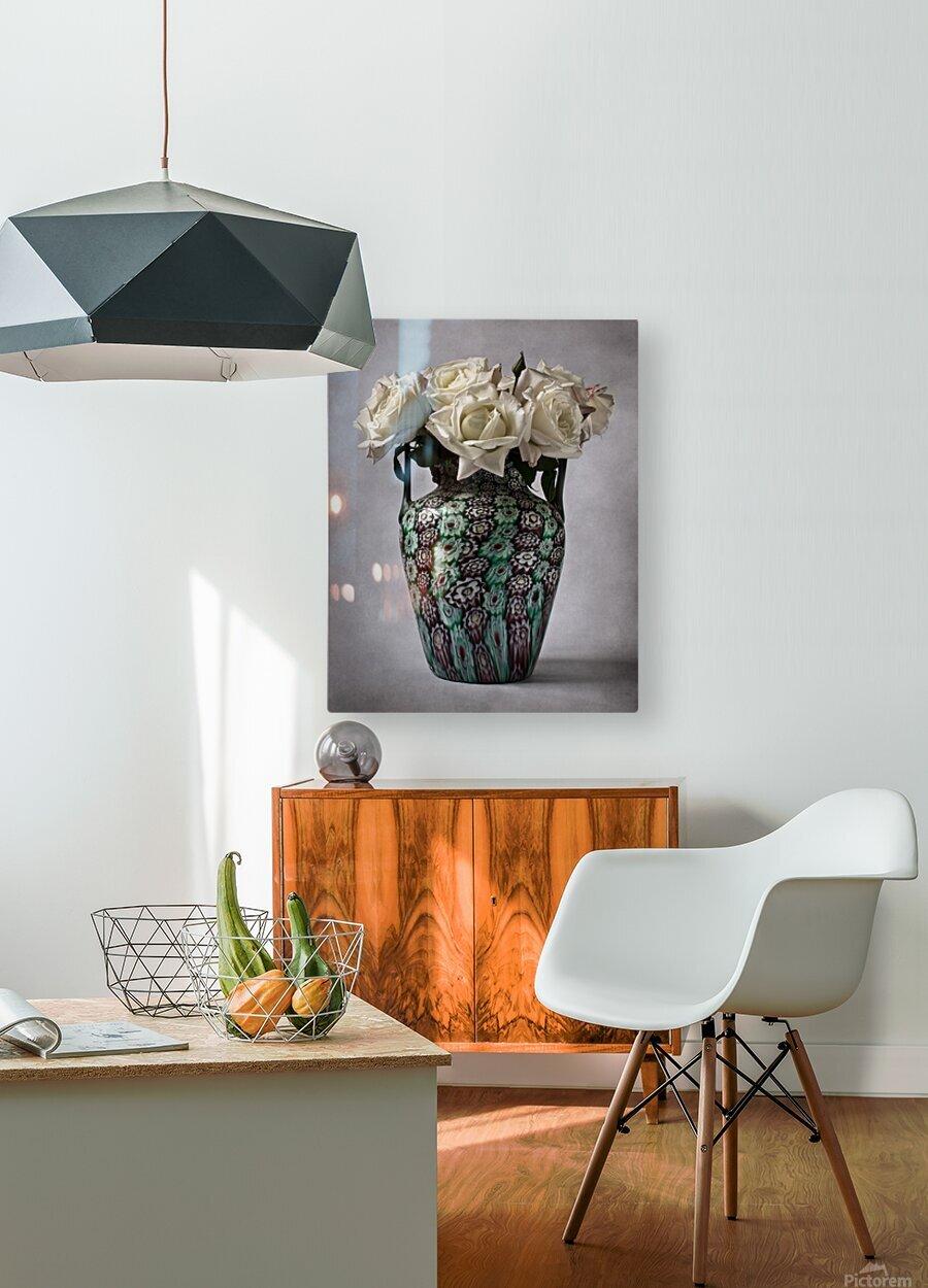 Venetian murrine vase  HD Metal print with Floating Frame on Back