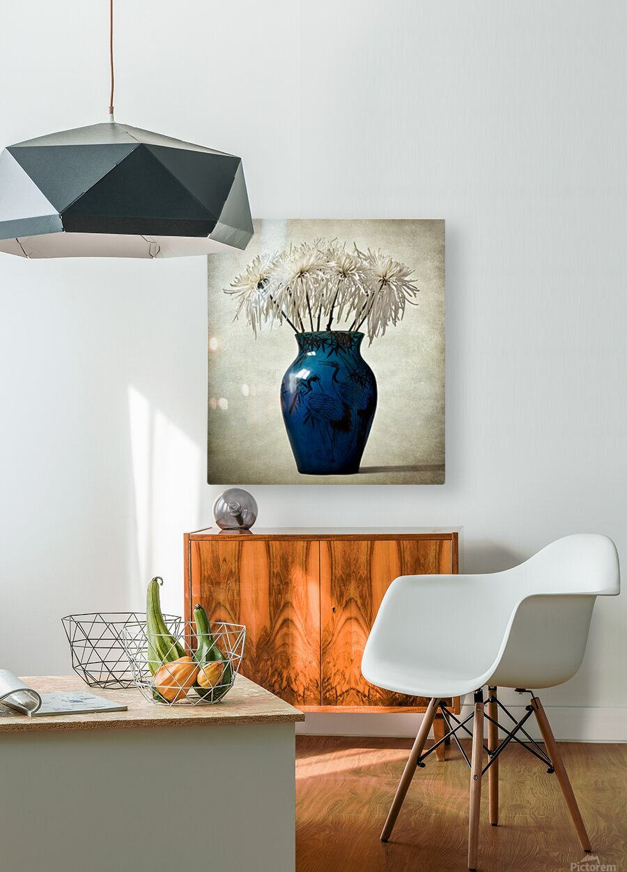 Blue  HD Metal print with Floating Frame on Back