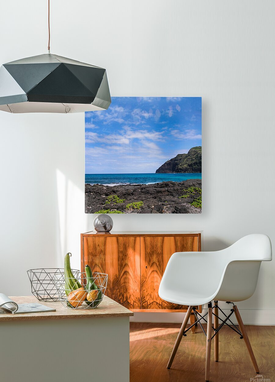 Hawaii Cliff and Coastline Square Panorama  HD Metal print with Floating Frame on Back
