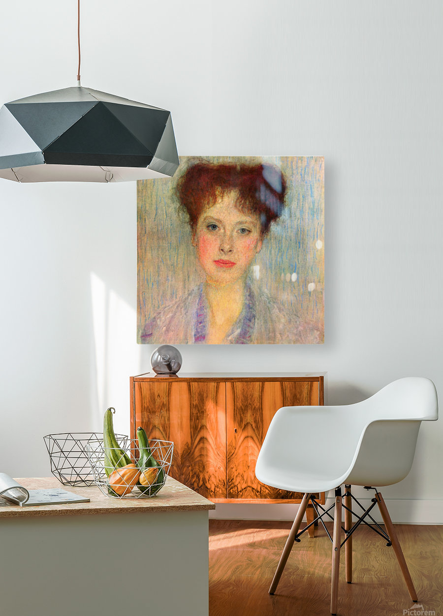 Portrait of Gertha Fersovanyi (detail) by Klimt  HD Metal print with Floating Frame on Back