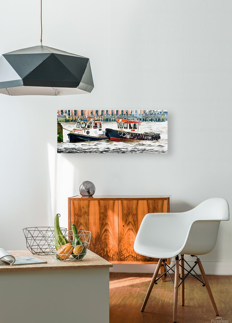 Two Boats Tied Up On The River Thames London  HD Metal print with Floating Frame on Back