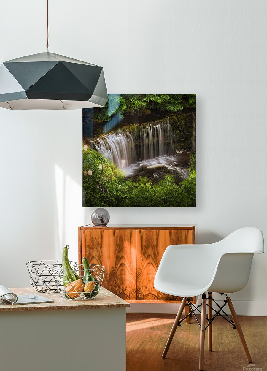The Sgwd Isaf Clun-gwyn waterfall  HD Metal print with Floating Frame on Back