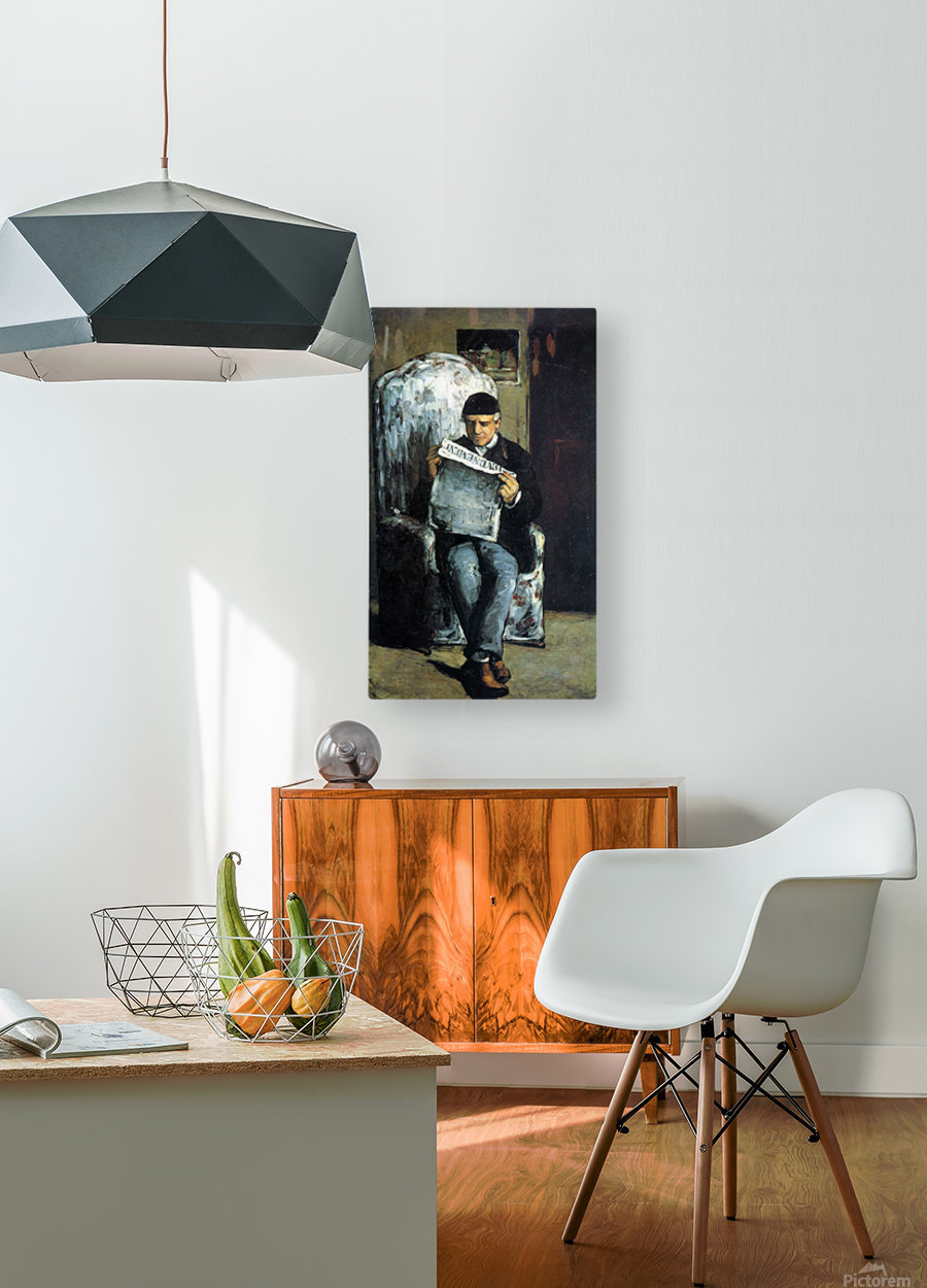 Portrait of Louis-Auguste Cezanne, the father of the artist, reading from L Evenement by Cezanne  HD Metal print with Floating Frame on Back