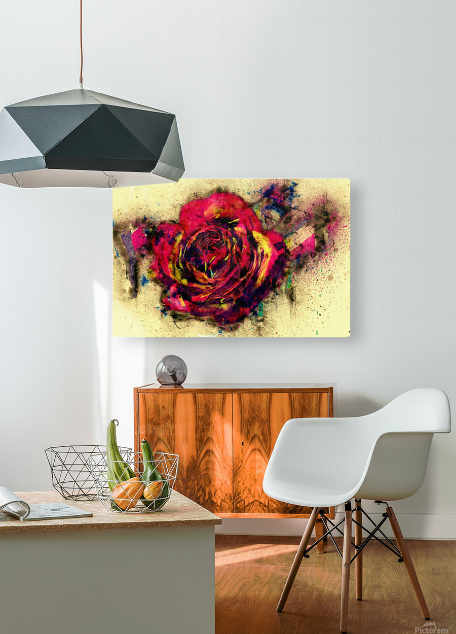 abstract rose  HD Metal print with Floating Frame on Back