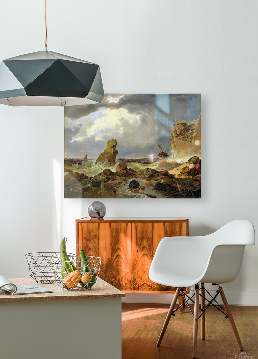 Surf on a Rocky Coast  HD Metal print with Floating Frame on Back