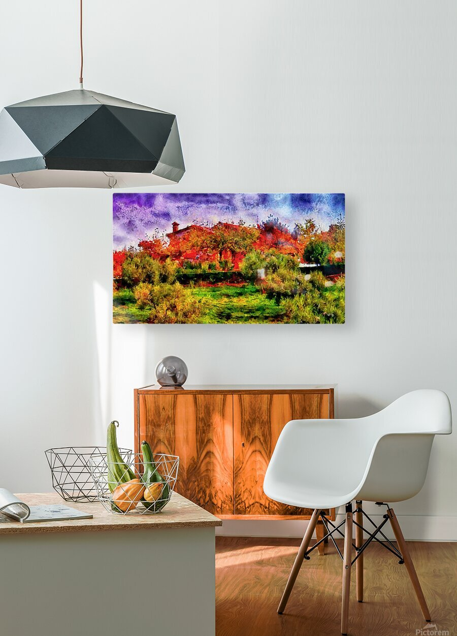 Sunset Autumn Color In Umbria  HD Metal print with Floating Frame on Back
