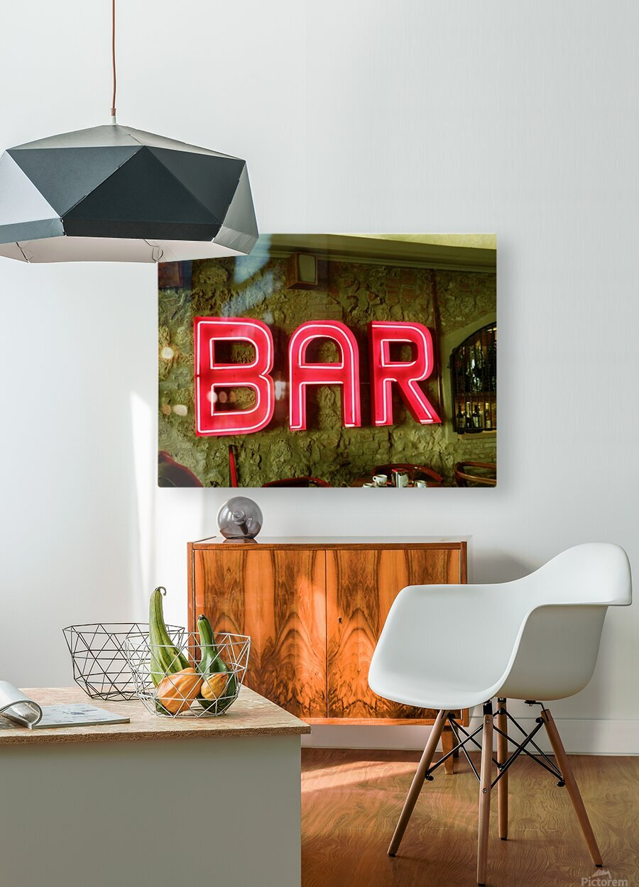 Bar Sign  HD Metal print with Floating Frame on Back