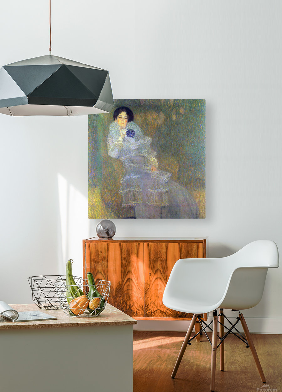 Portrait of Marie Henneberg (portrait in purple) by Klimt  HD Metal print with Floating Frame on Back