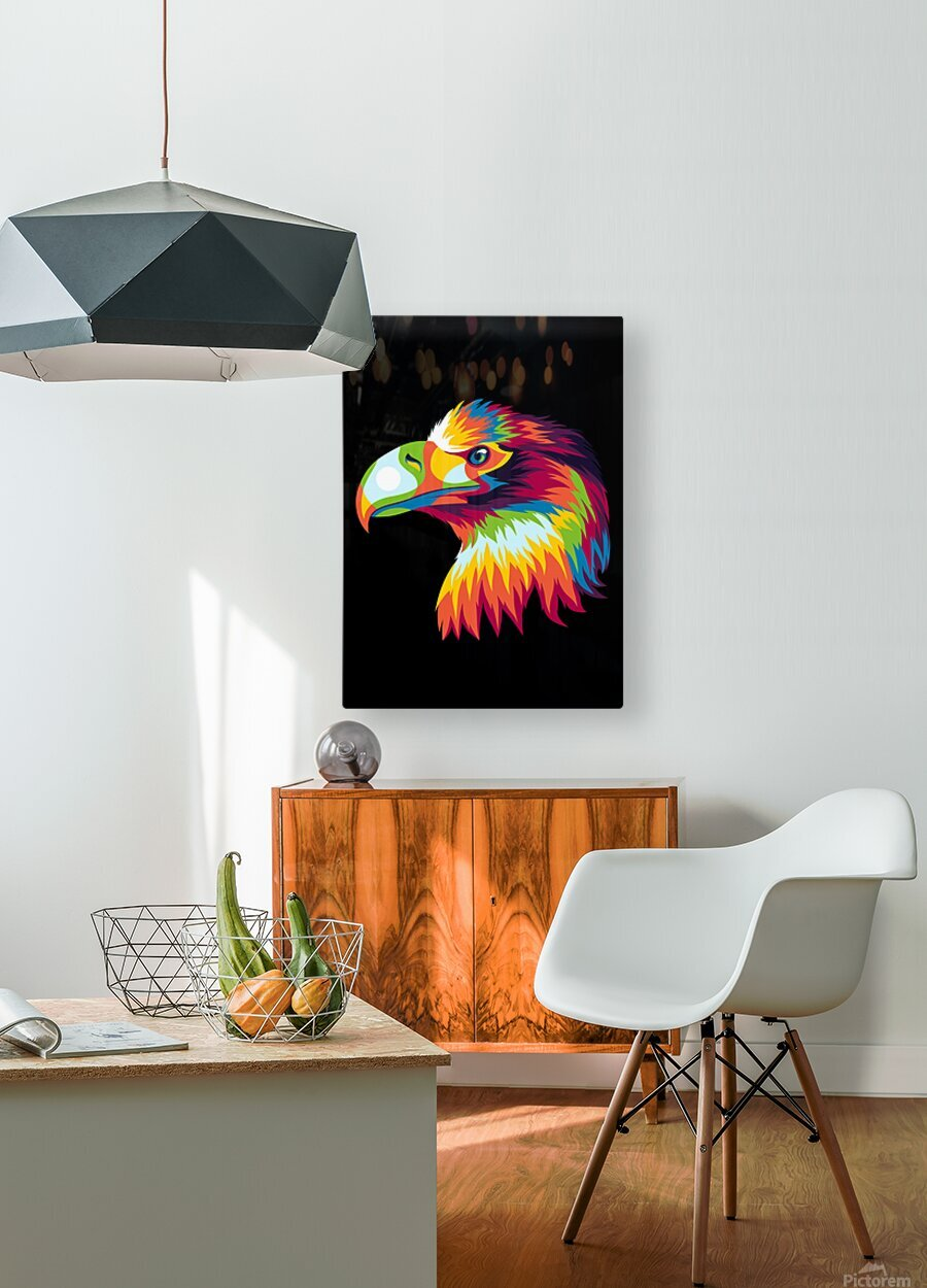 Bird of Prey in Colorful Pop Art Illustration  HD Metal print with Floating Frame on Back