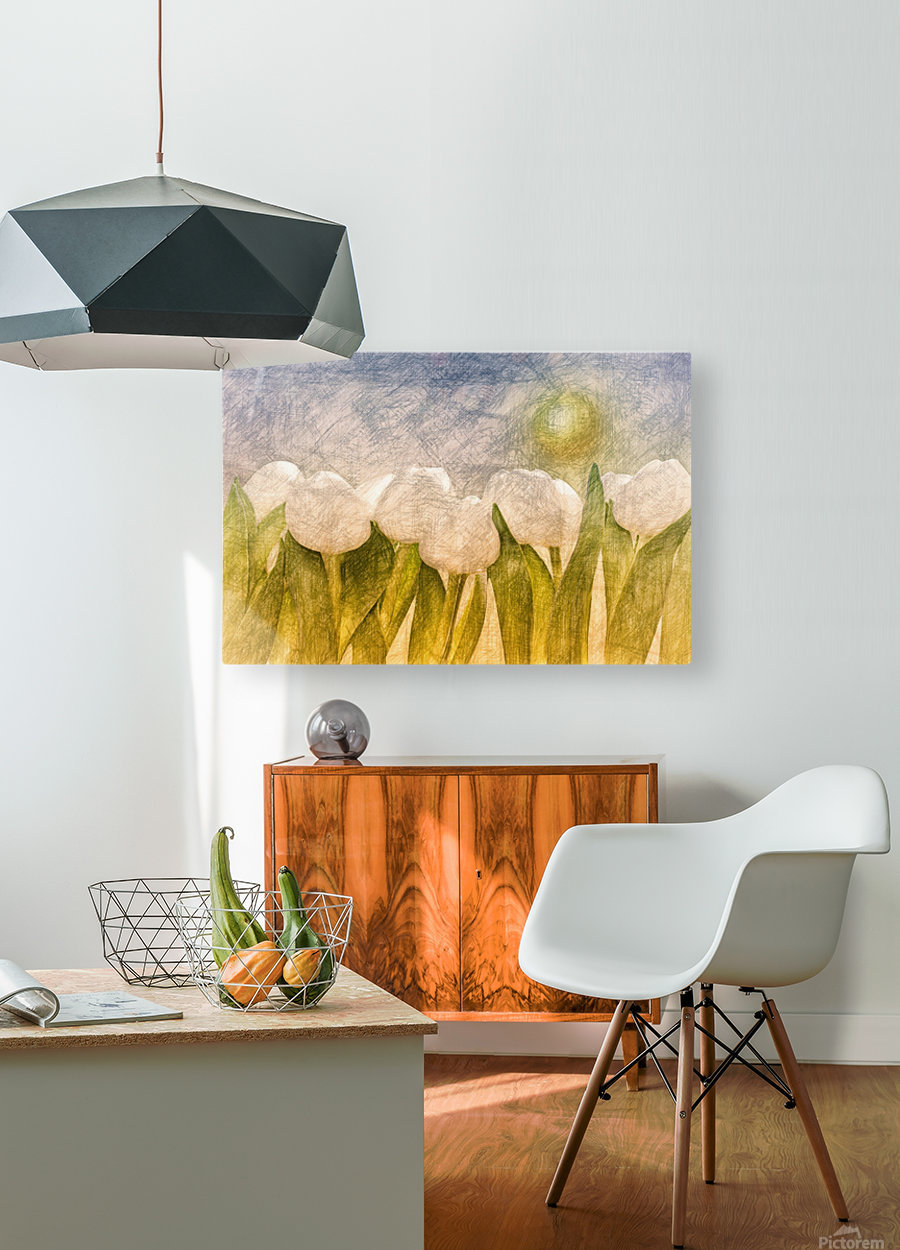 white Tulips   HD Metal print with Floating Frame on Back