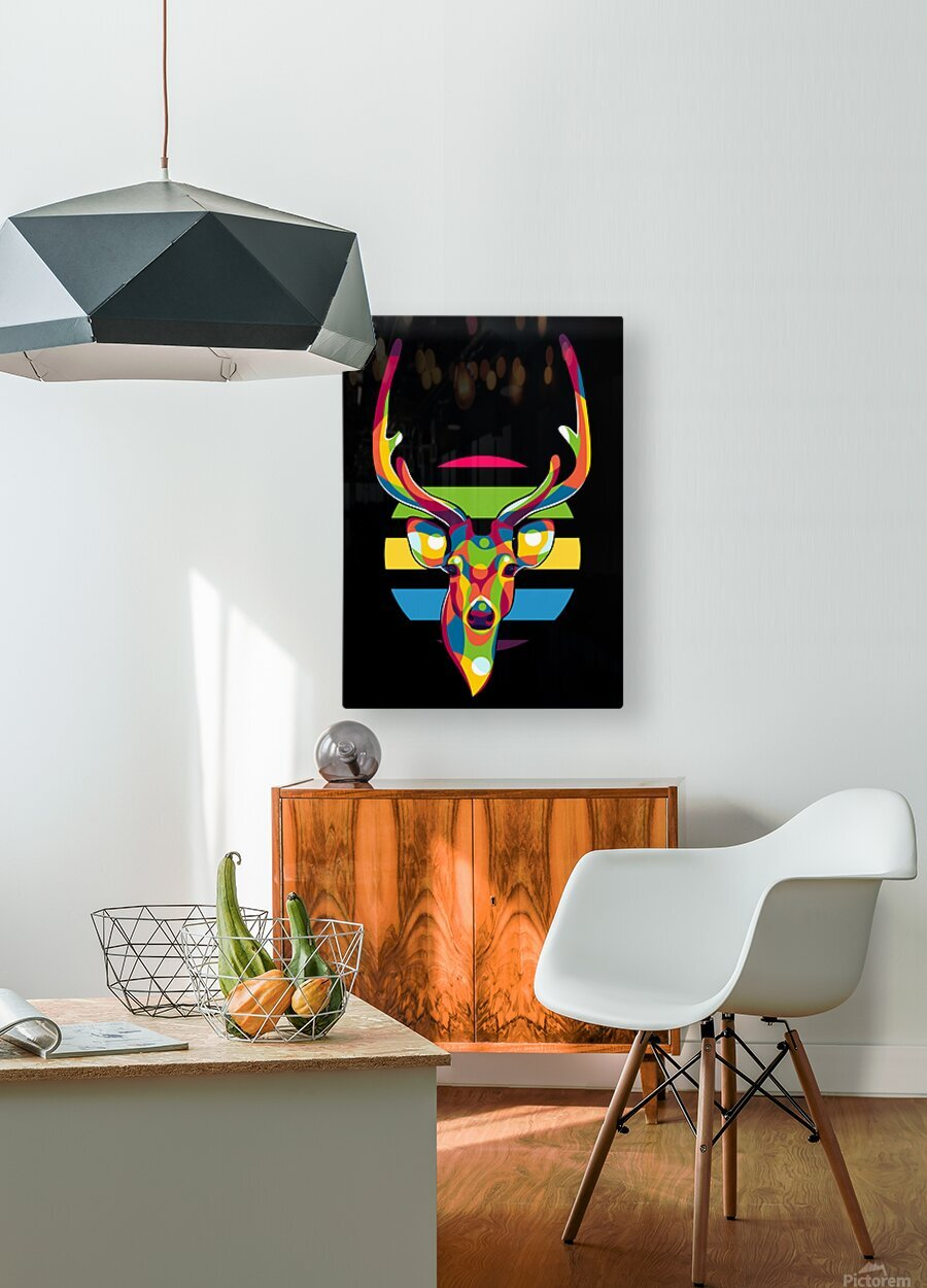 Deer Portrait  HD Metal print with Floating Frame on Back