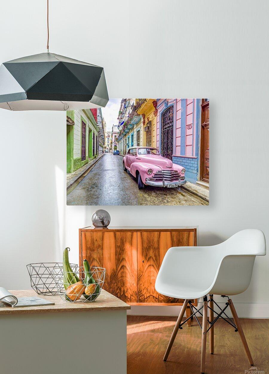 Vintage car on street of Havana, Cuba  HD Metal print with Floating Frame on Back