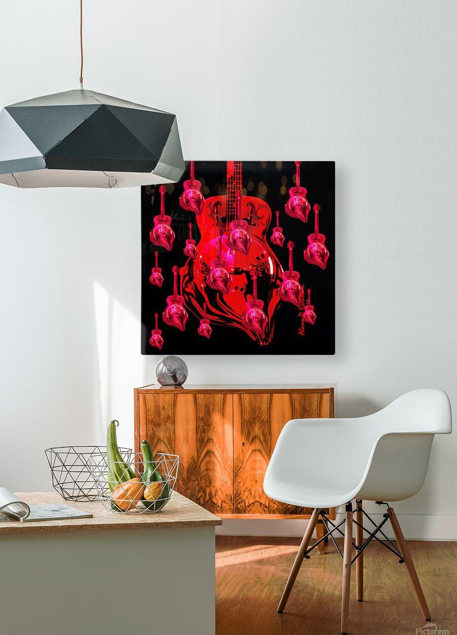PinkRainBlackVelvet  HD Metal print with Floating Frame on Back