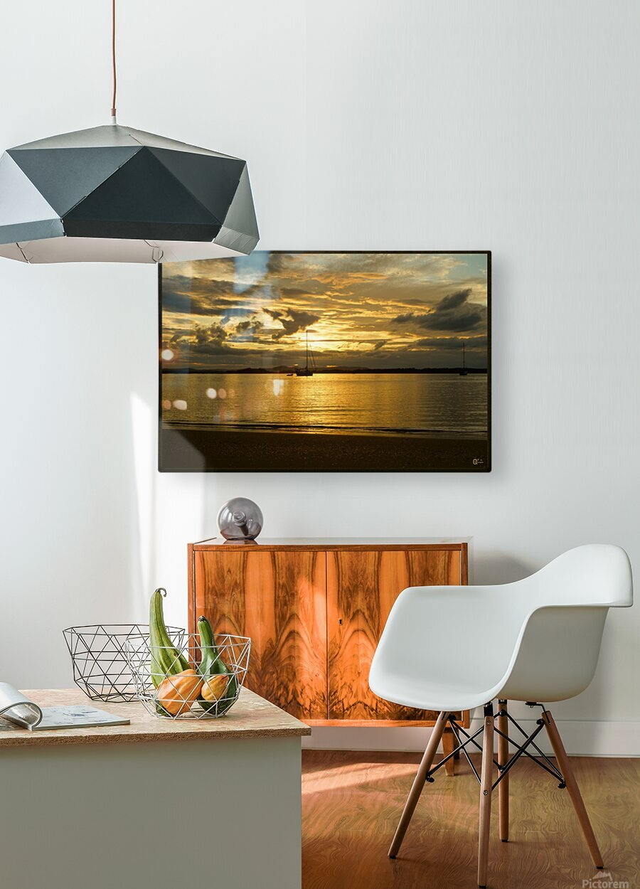 clarence river sunset  HD Metal print with Floating Frame on Back