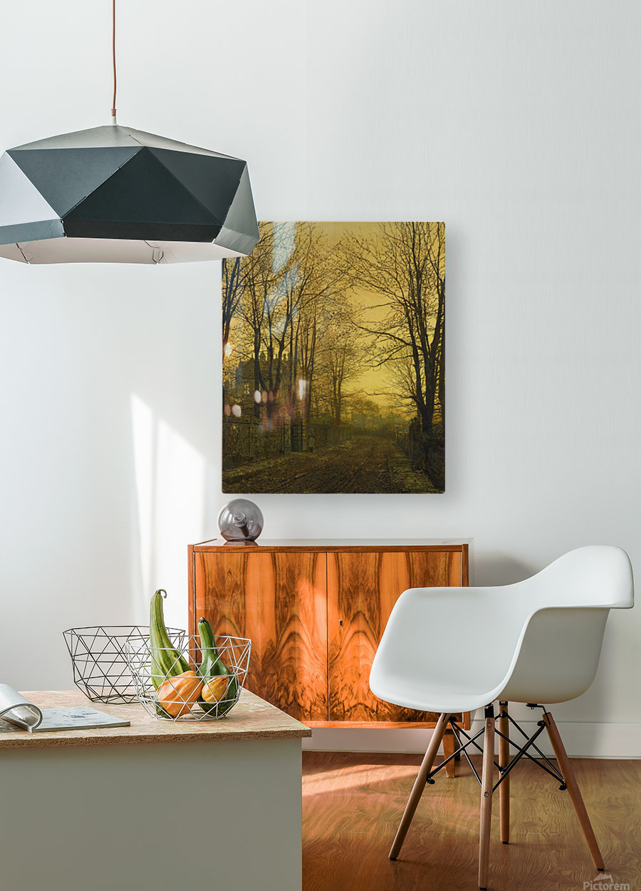 Autumn view with figure  HD Metal print with Floating Frame on Back