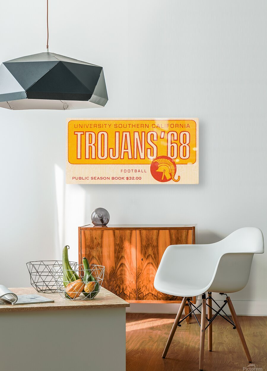 1968 USC Trojans Season Ticket  HD Metal print with Floating Frame on Back