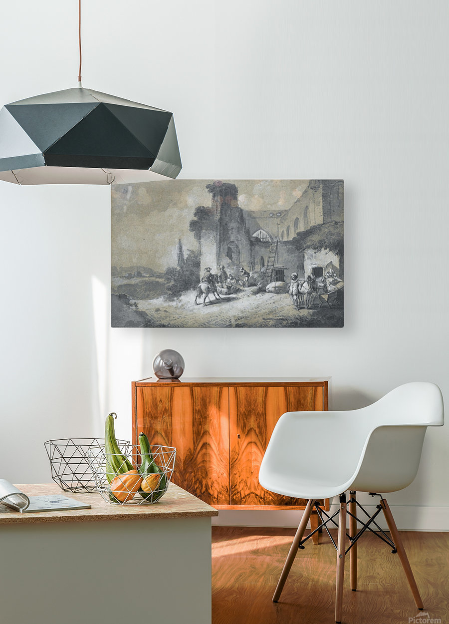 La halte des comediens dans la ferme  HD Metal print with Floating Frame on Back