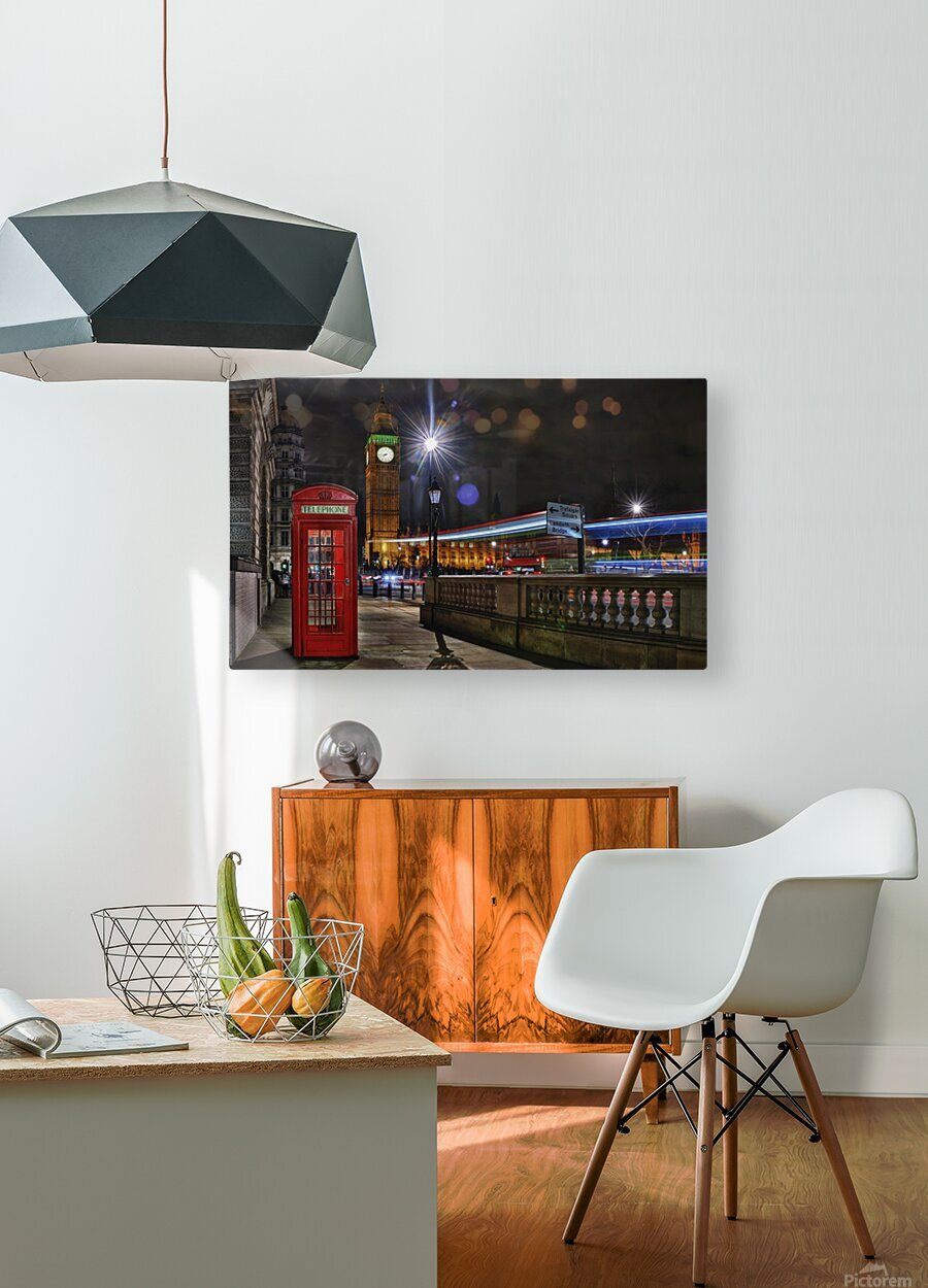 Red Phone Box  HD Metal print with Floating Frame on Back