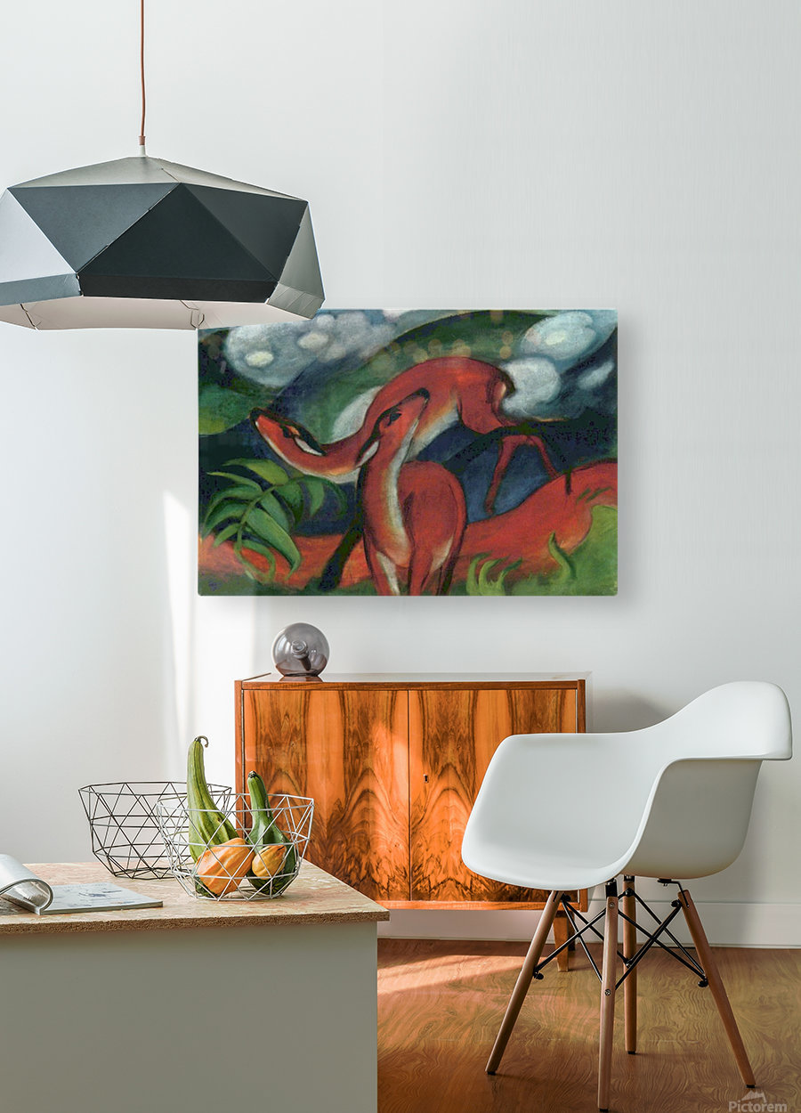 Red Deer II by Franz Marc  HD Metal print with Floating Frame on Back