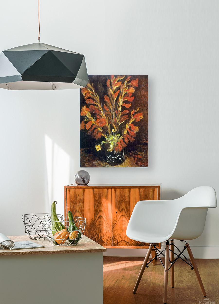 Red Gladioli by Van Gogh  HD Metal print with Floating Frame on Back