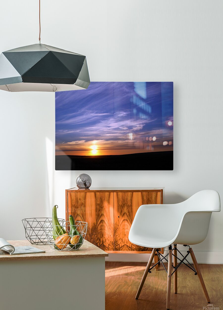 Montana   Sunset  HD Metal print with Floating Frame on Back